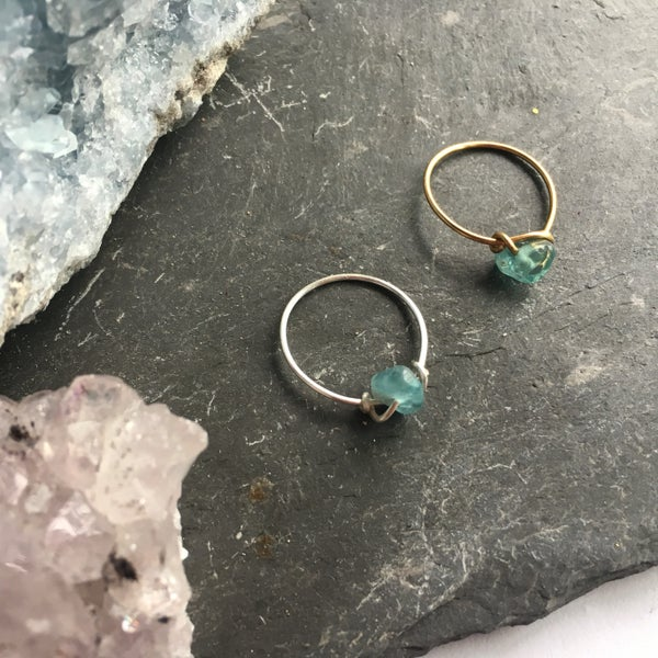 Image of Simple Aquamarine Stone Ring - for calm and courage
