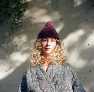 Image of Lanark diagonal ribbed toque of silk + alpaca + merino wool (shown in dark plum)