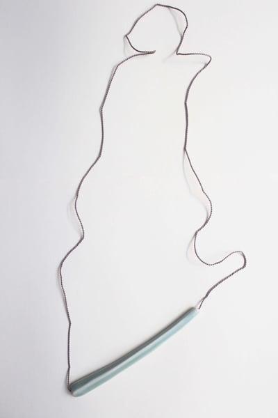 Image of Porcelain necklace, silk chord in cloud, celadon glaze (single bead)