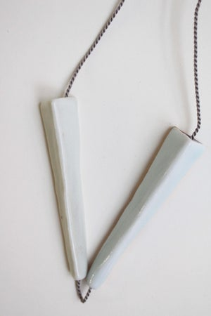 Image of Porcelain necklace and silk chord in cloud