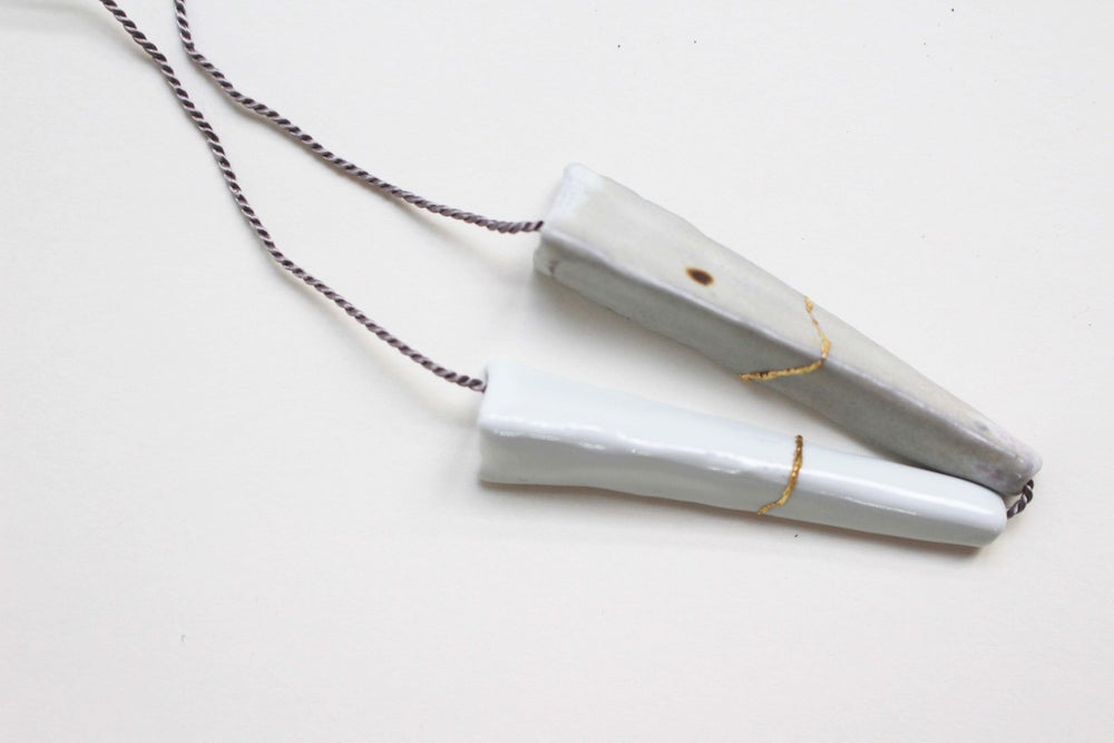 Image of Porcelain and stoneware necklace, kintsugi, silk chord in cloud
