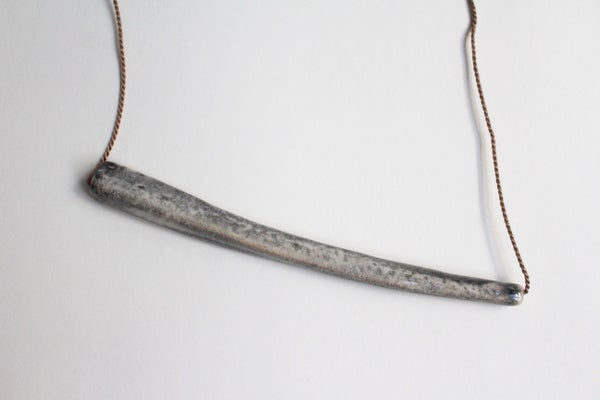 Image of Stoneware necklace, silk chord in wheat (Single bead)