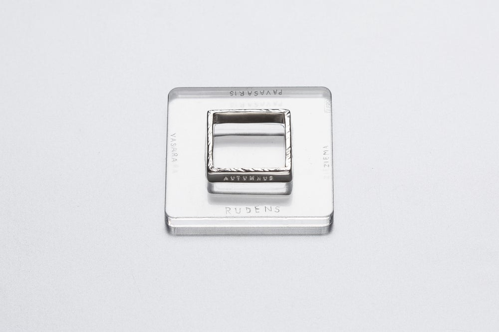 Image of silver polished square rings with Latin inscriptions