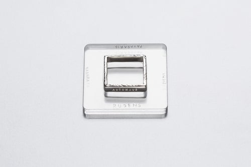 Image of silver polished square ring with inscription in Latin