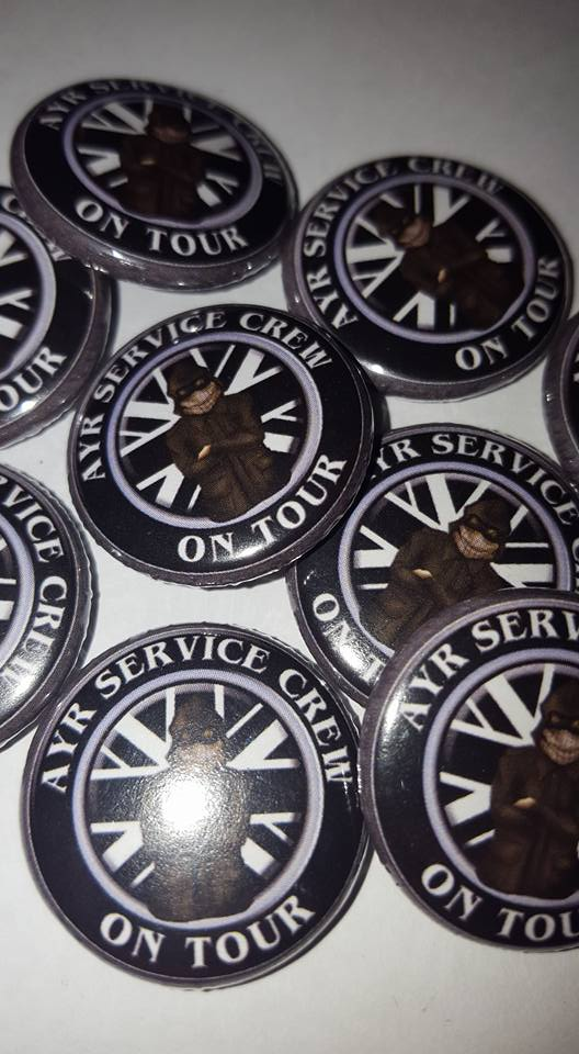 Ayr United Service Crew On Tour Brand New 25mm Football Ultras/Casuals Badges.