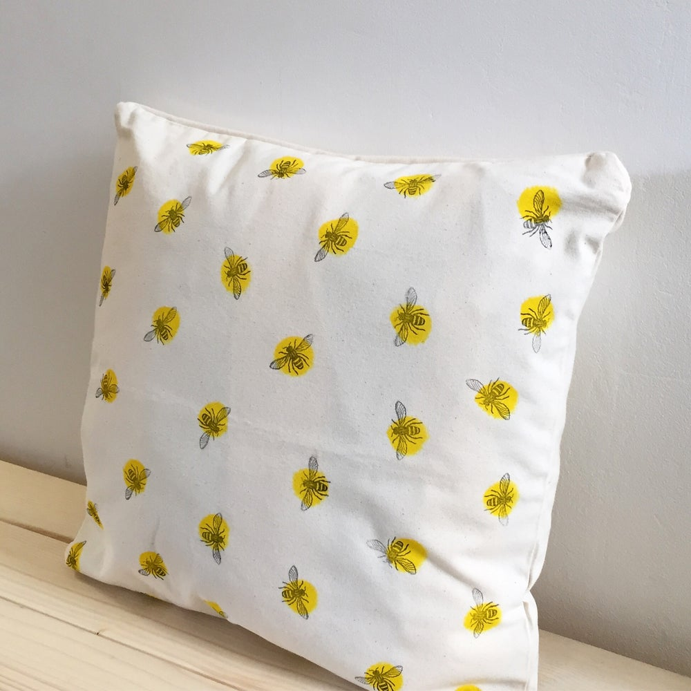 Image of Bee Cushion - Square - Hand Printed