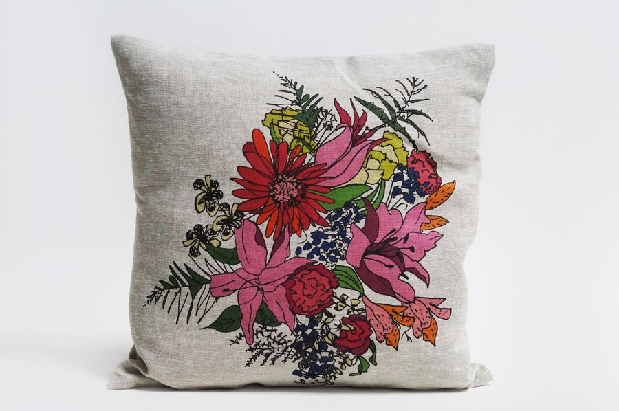 Image of Linen Cushion - Natural Linen - Flowers for Vinnie