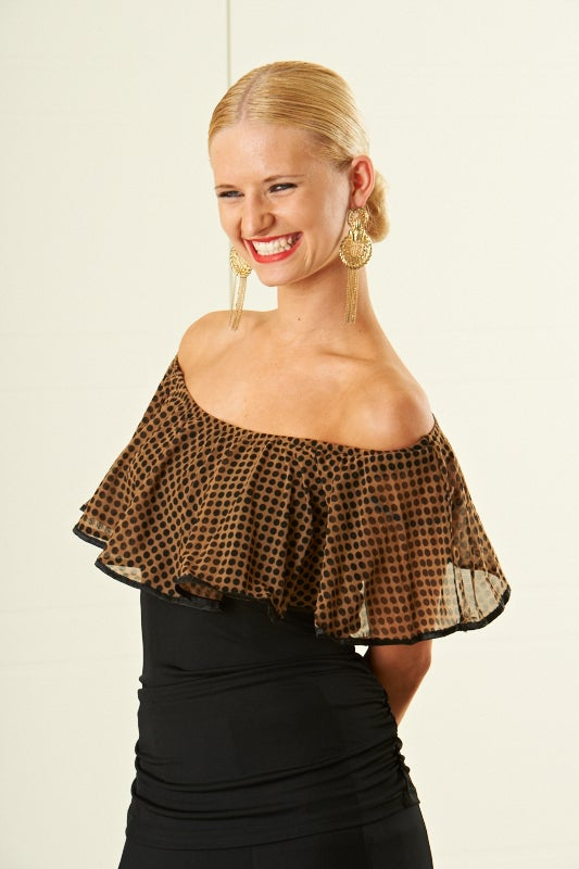 Image of Frill Top - E5982 DOTS or BLK LACE Dancewear latin ballroom