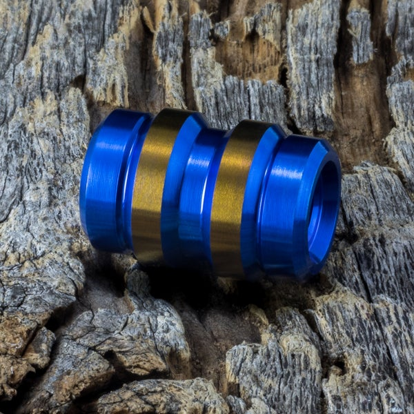 Image of Keg Electric Blue & Bronze Ti Bead #1