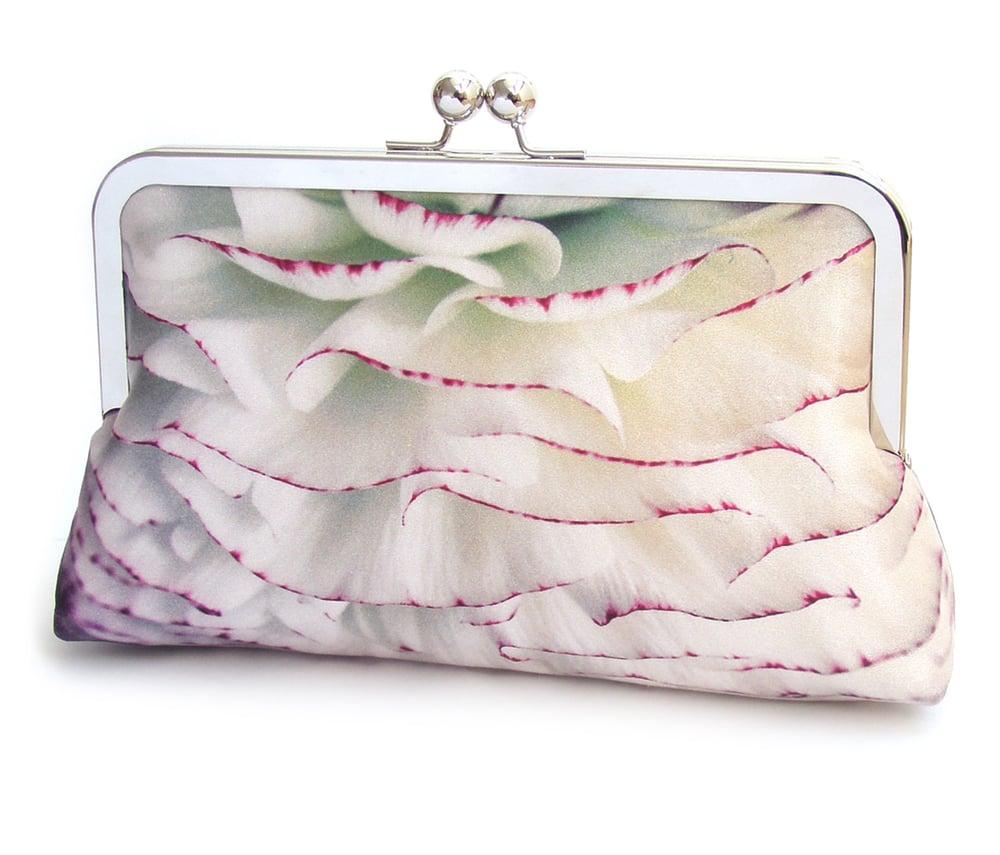 Image of PomPom petals clutch bag, silk purse, frilly ranunculus flower
