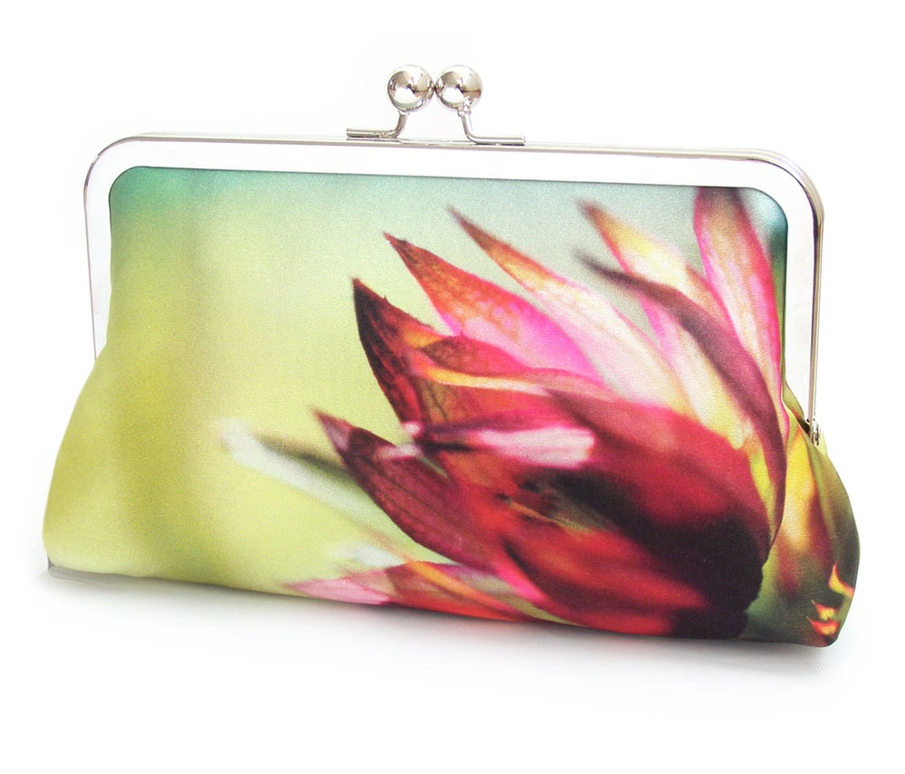 Image of Astrantia pink flower clutch bag