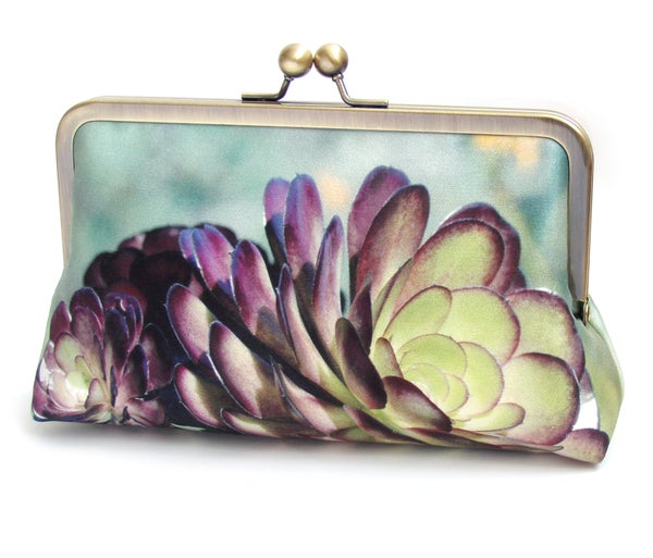 Clutch bag, succulent silk purse, green, purple petals, desert cacti plant, bridesmaid gift - Red Ruby Rose