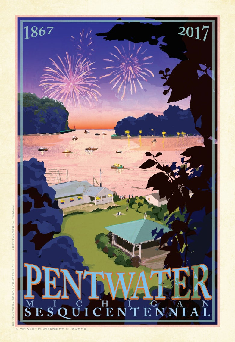 Image of Pentwater Sesquicentennial Limited Edition 13x19 Print No. [069]