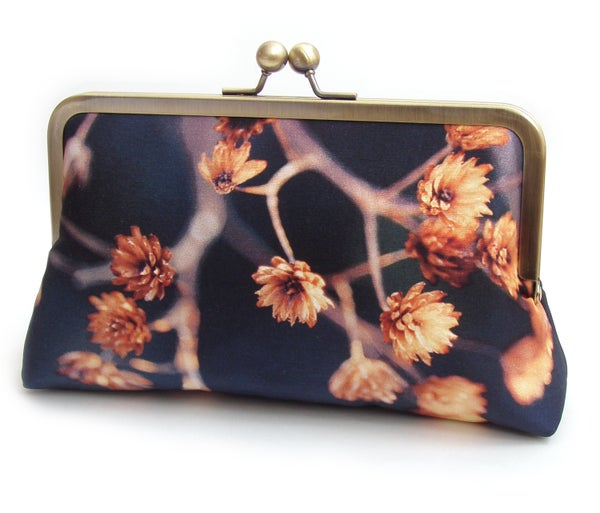 Image of Gold seed heads clutch bag, blue and orange silk purse, woodland wedding, bridesmaid gift