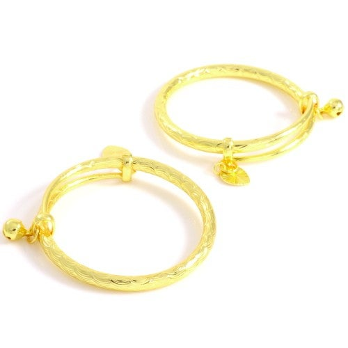 Image of Heart Charm 2pcs Bangle Set