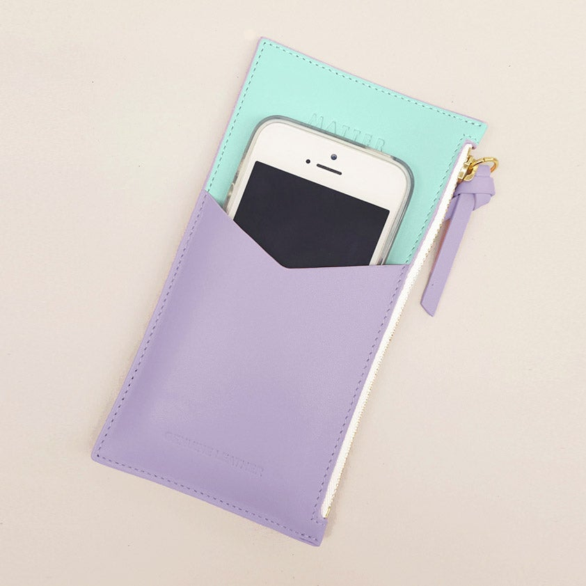 Mini Zipped Pouch - Lilac  and Mint