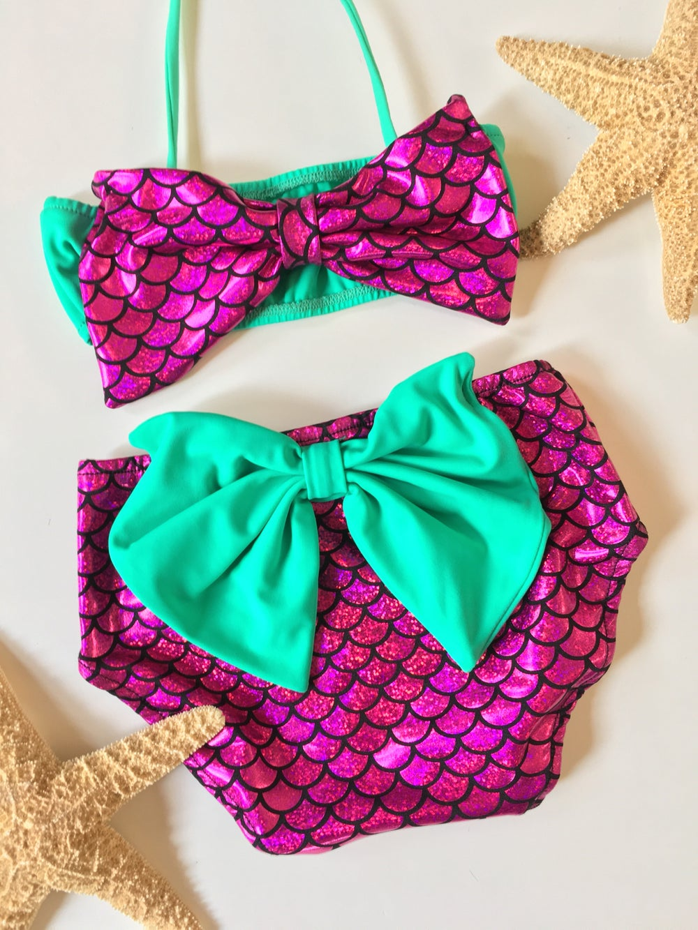 Image of Little Girlfriends bikini Magenta with mint green