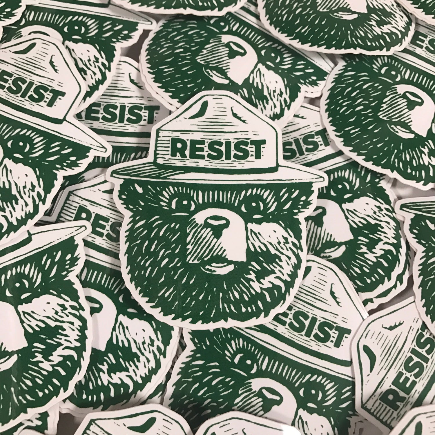 Image of Resist Trump Bear Lapel Pin & Sticker Pack