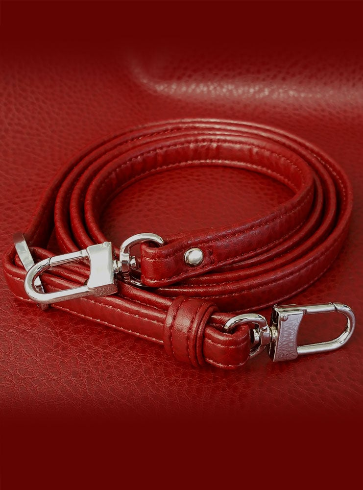 """Image of RED Premium Faux Leather Purse Strap - 1/2"""" Wide - Gold or Nickel #16LG Hooks - Choose Length"""