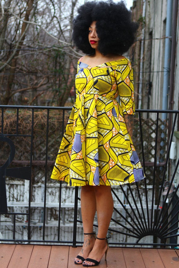Image of EWA - African Print Yellow Dress