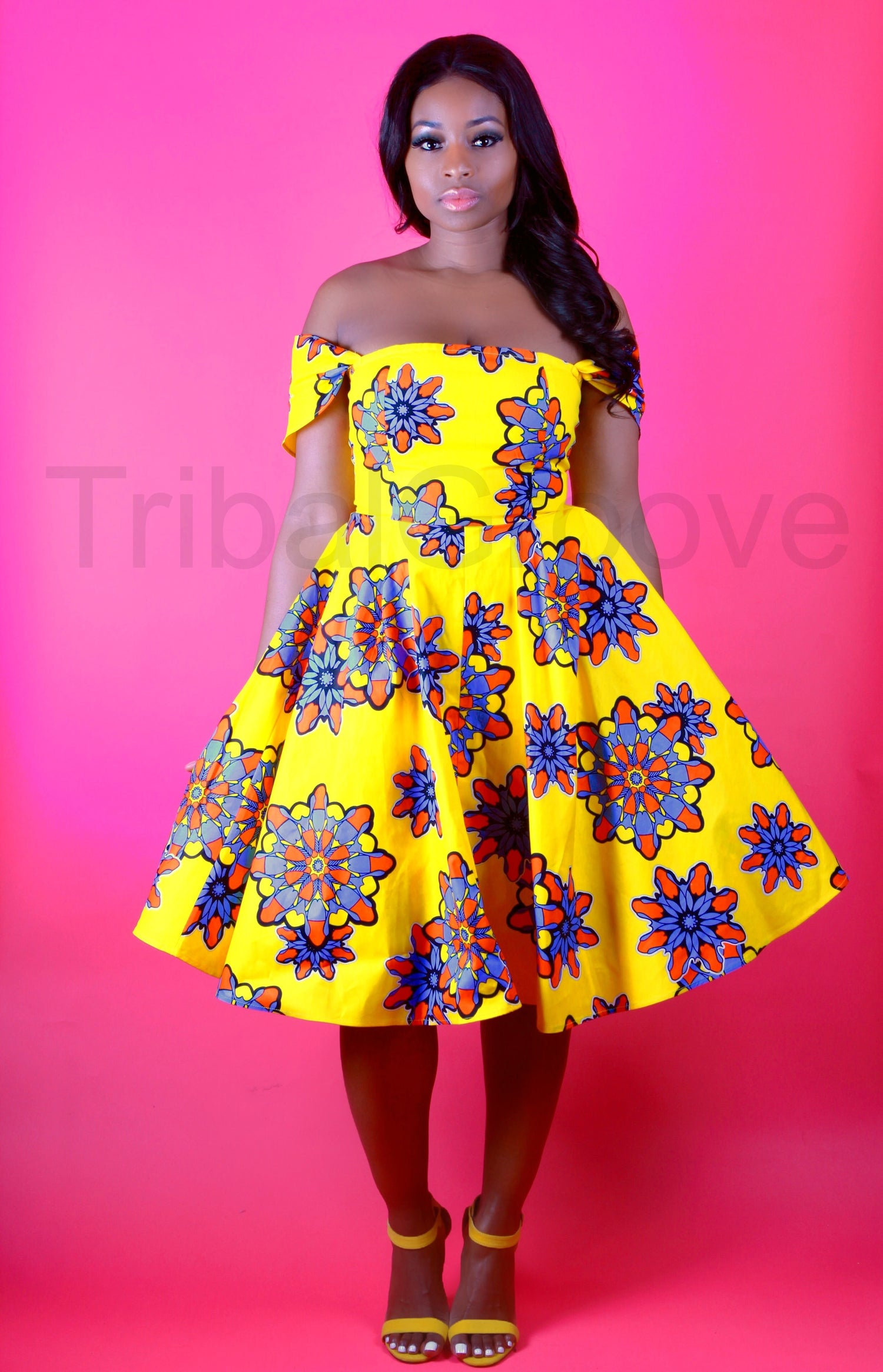 Image of ADE - African Print Yellow Flower Dress SM-XXL