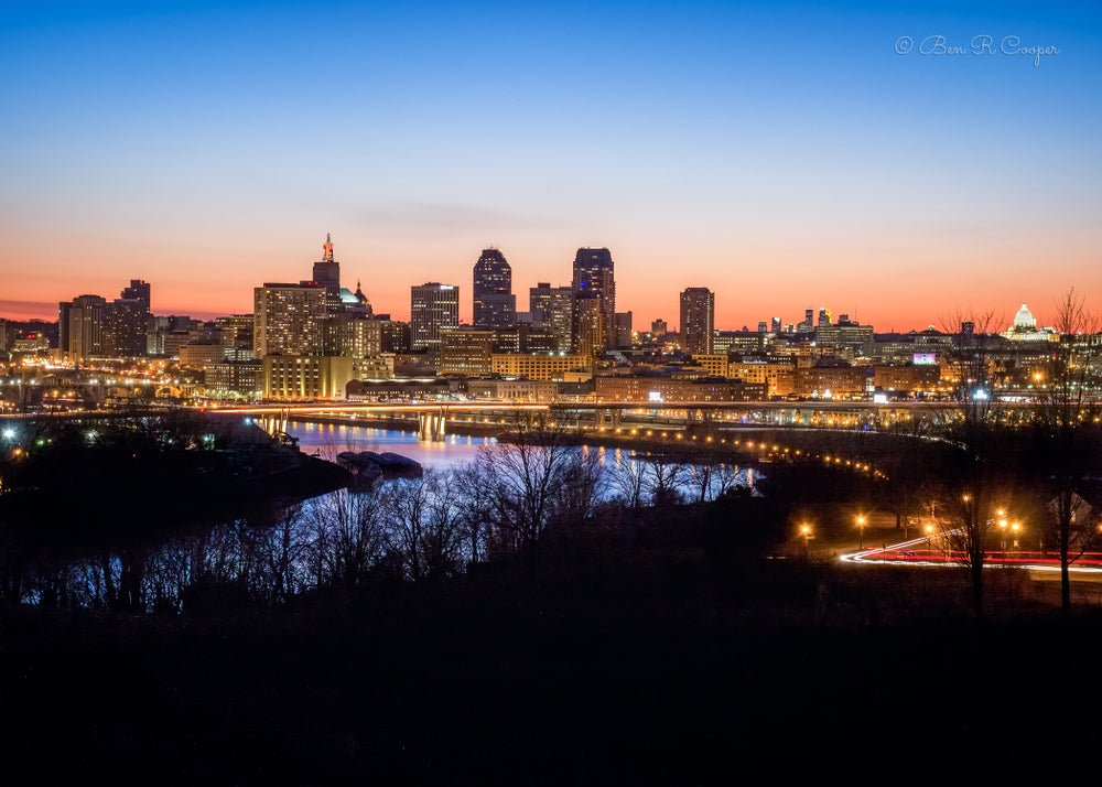 Image of Twin Cities After Sunset