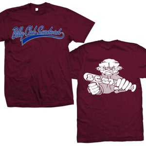 "Image of BILLY CLUB SANDWICH ""Logo Demo"" Maroon T-Shirt"