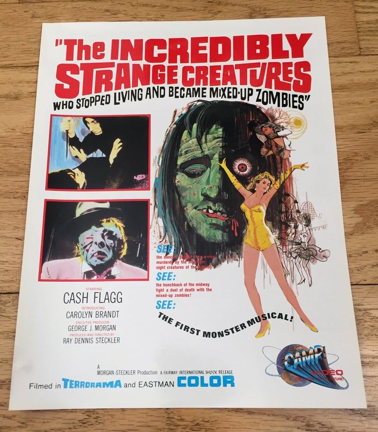 Image of 1986 INCREDIBLY STRANGE CREATURES Original Promotional Ad Slick