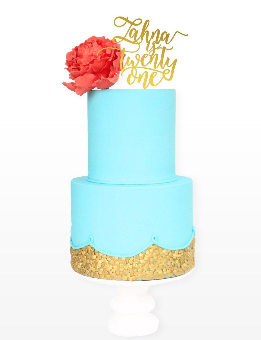 Image of Script Name & Script Age Cake Topper