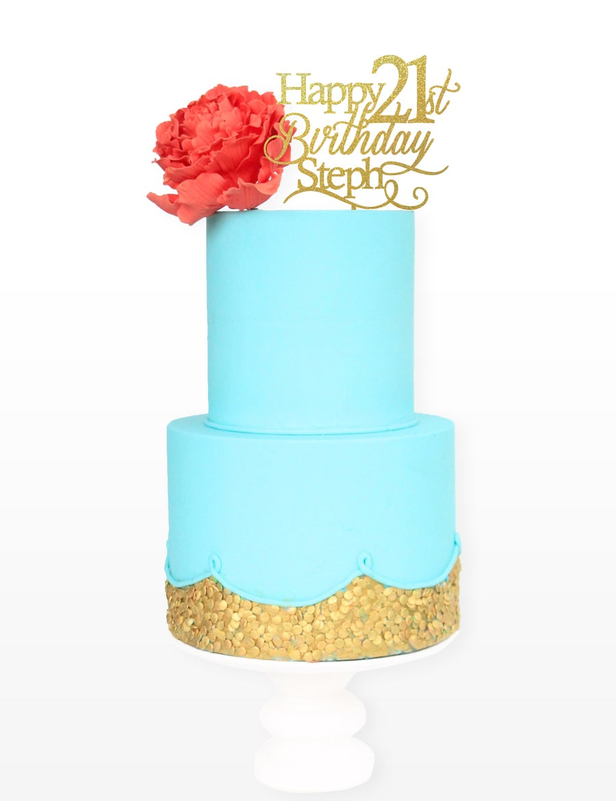 Image of Personalised Happy Birthday Cake Topper