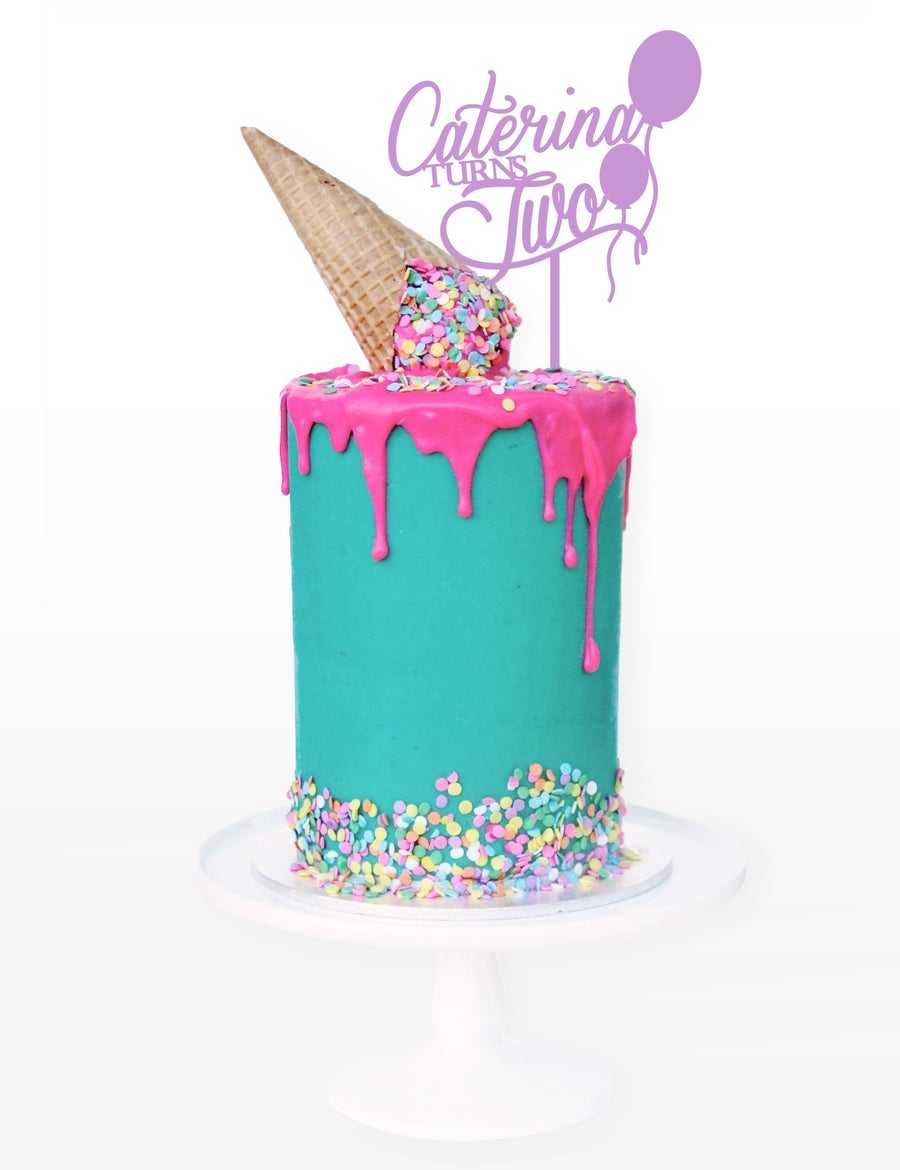 Image of Personalised Name & Age Balloon Cake Topper