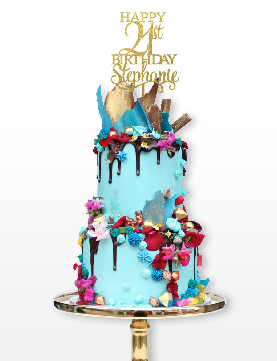 Image of Tall Personalised Happy Birthday Cake Topper