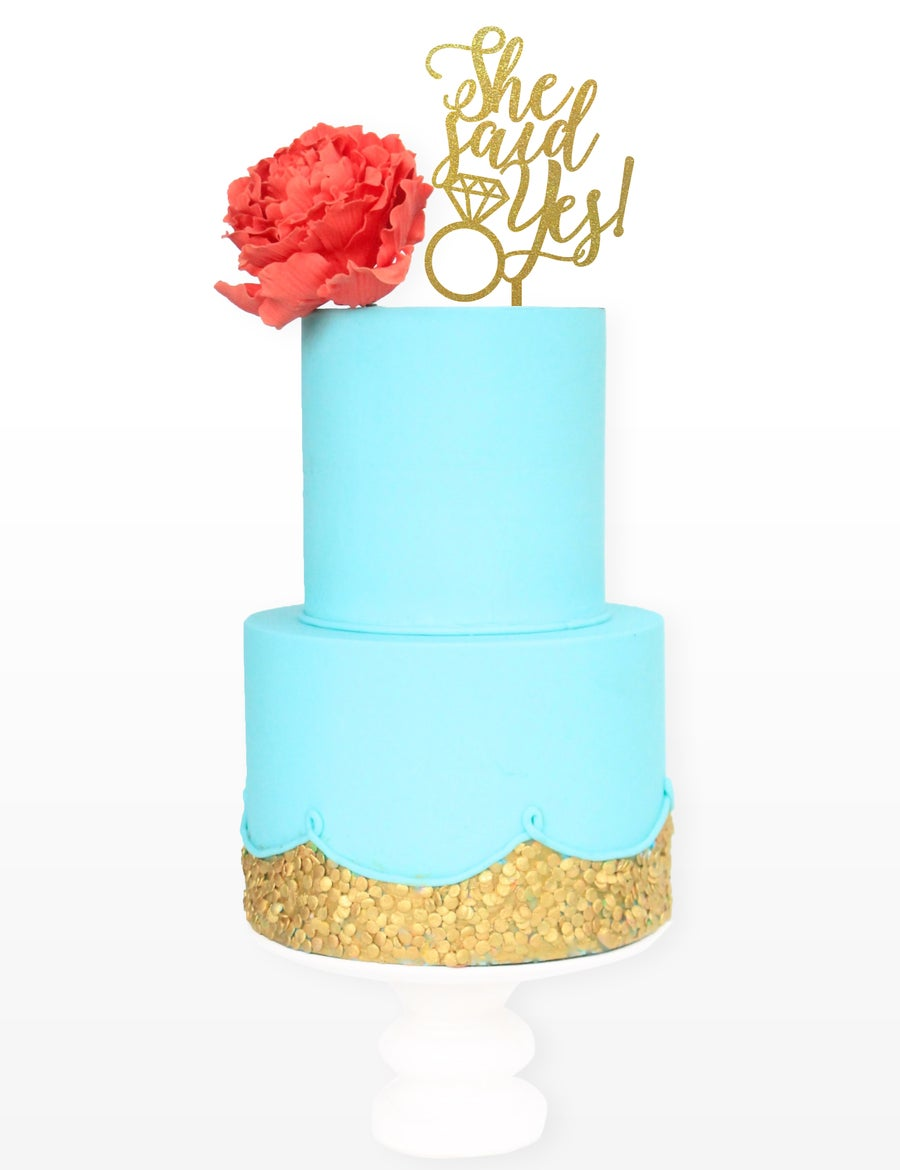Image of She Said Yes Diamond Cake Topper