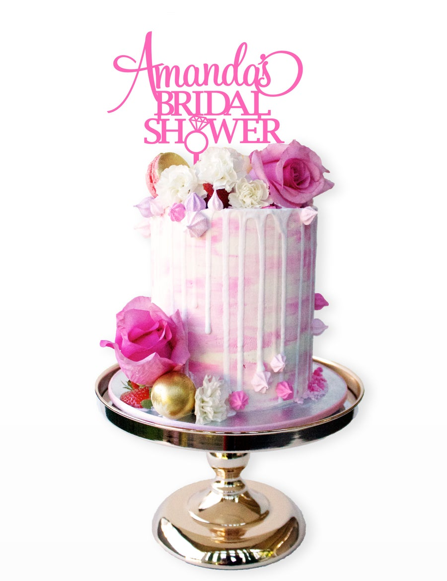 Image of Personalised Bridal Shower Diamond Cake Topper