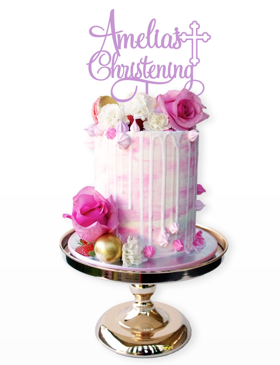 Image of Personalised Christening/Baptism Cake Topper