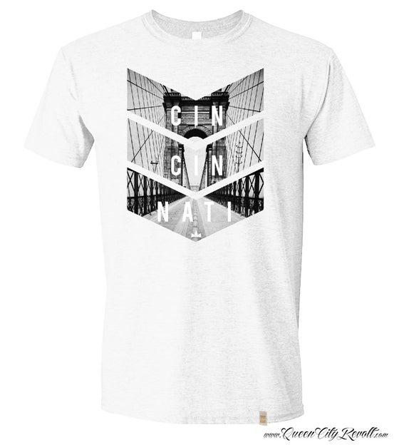 Image of Roebling Bridge, Cincinnati, Ohio Tee, White