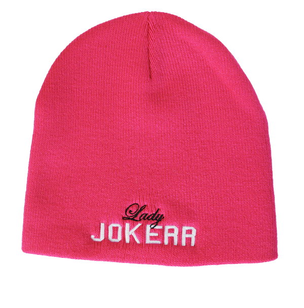 Image of Lady Jokerr Legacy Letterman Beanie (White & Black on Hot Pink)