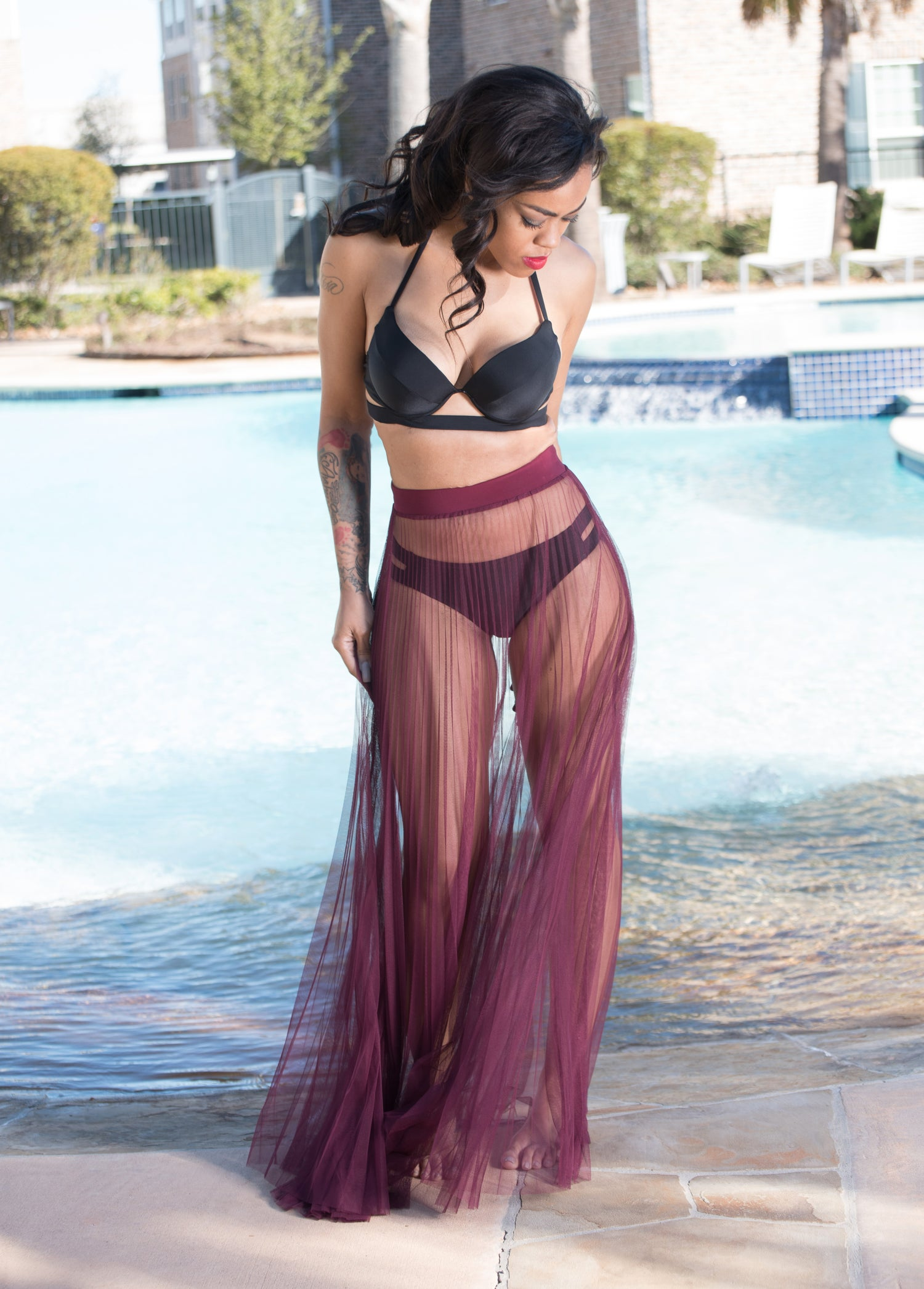Image of Burgundy Sheer Skirt