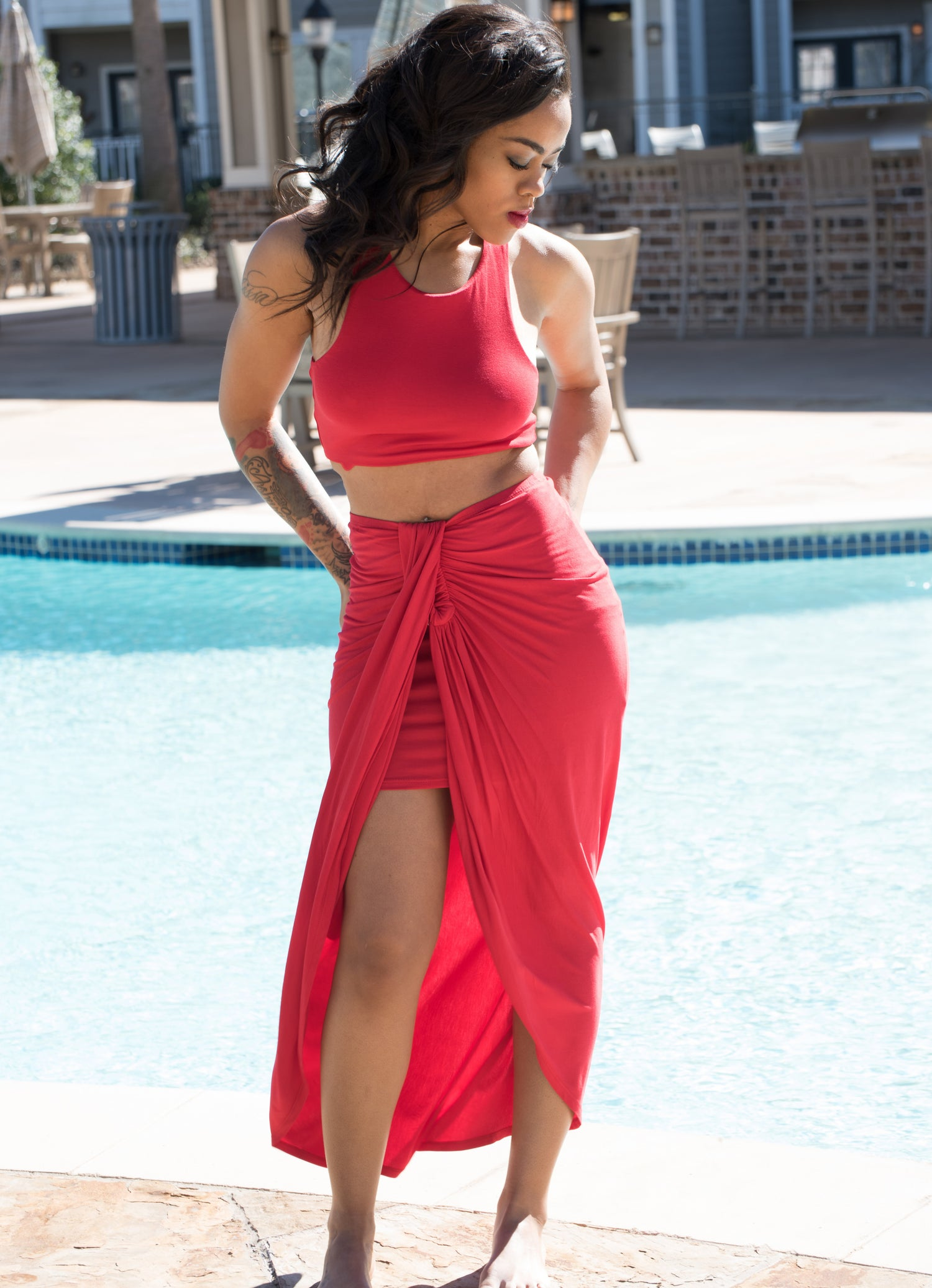 Image of Red Flamingo 2 Piece Dress