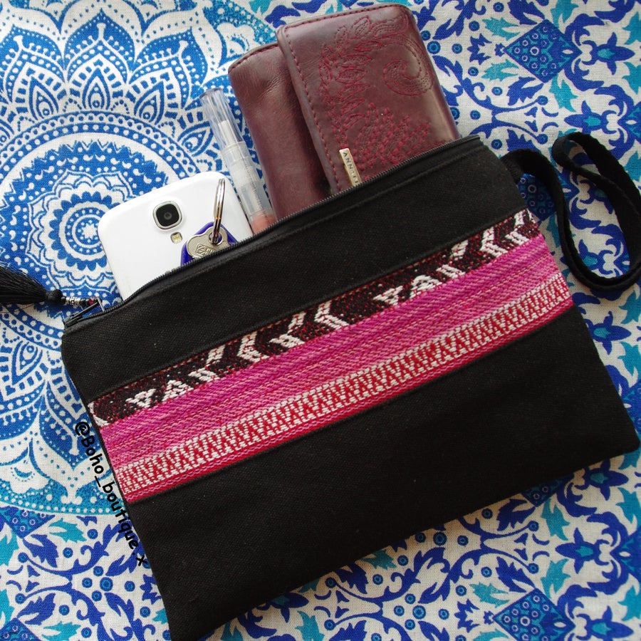 Image of Pre-order Handmade Pink and Black Boho Clutch