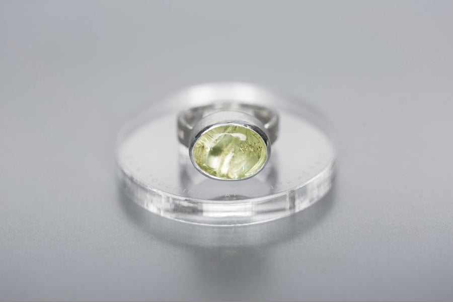 Image of silver ring with heliodor SŌL CONTRECTANS CORPUS AQUAE