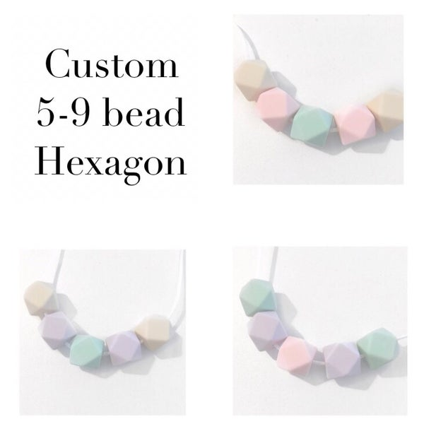 Image of Custom 5 - 9 bead Hexagon Necklace