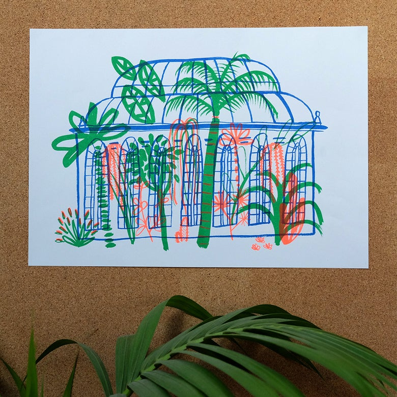 Image of Botanics 3-colour risograph print
