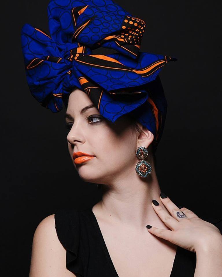 Image of ****HEADWRAP FASCIA TURBANTE BLU ARANCIO ****