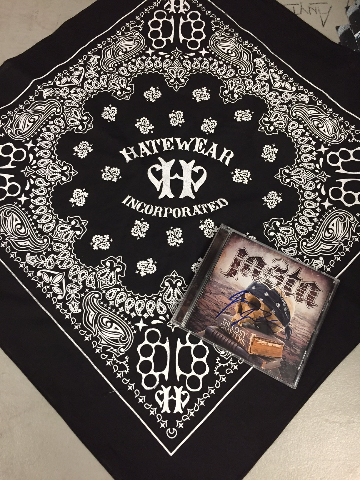 "Image of HATEWEAR BANDANA + AUTOGRAPHED JASTA ""THE LOST CHAPTERS CD"