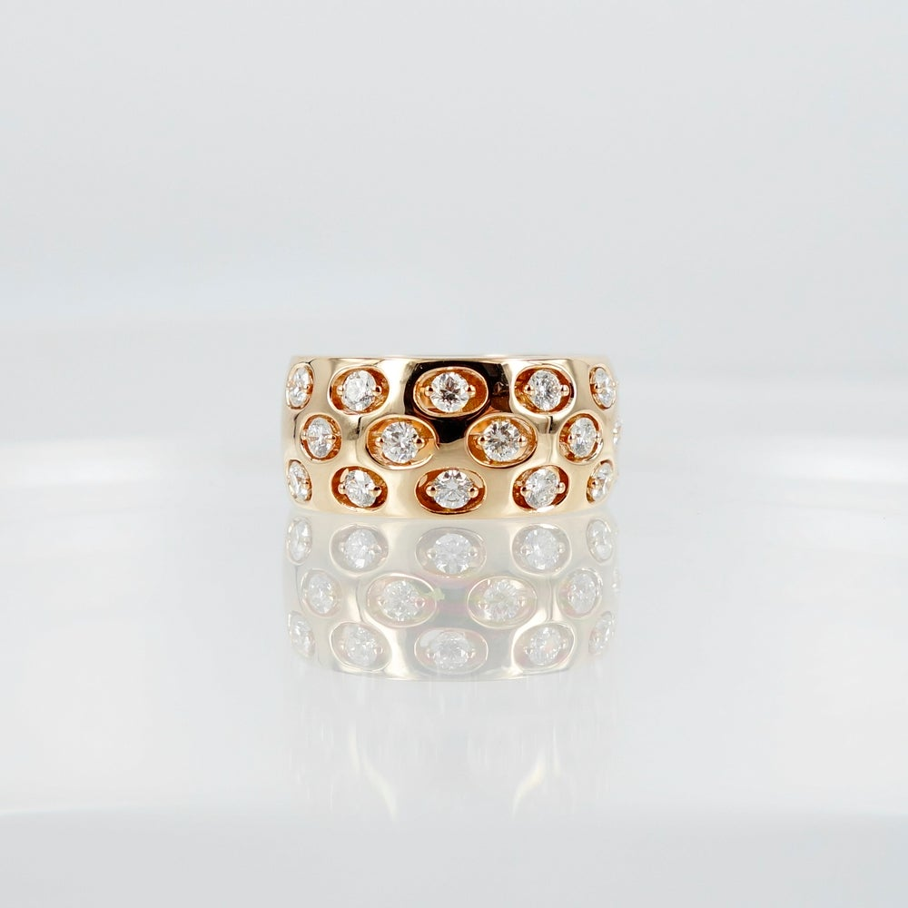 Image of PJ5462 14ct Rose gold contemporary designed diamond ring