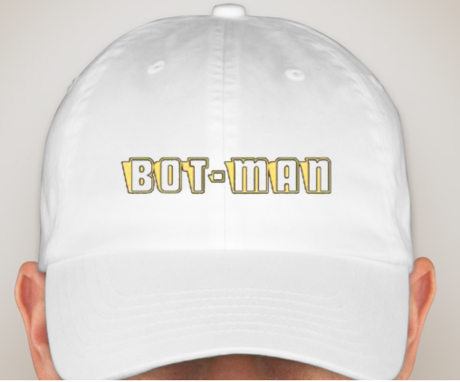 Image of Bot-Man logo Hats White/Maroon/Light Pink