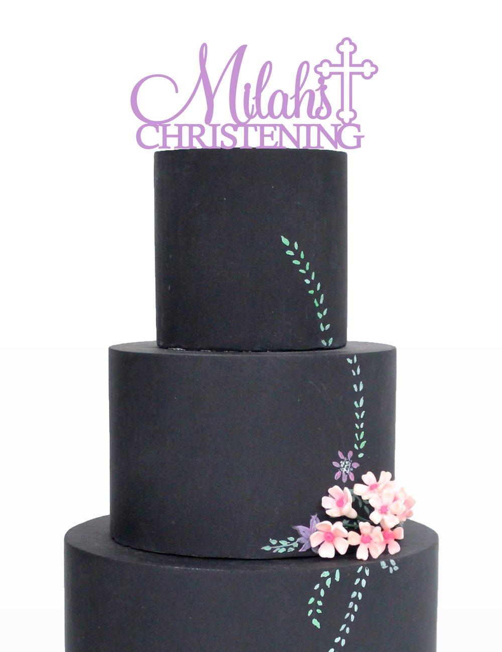 Image of Name Christening/Baptism Cake Topper