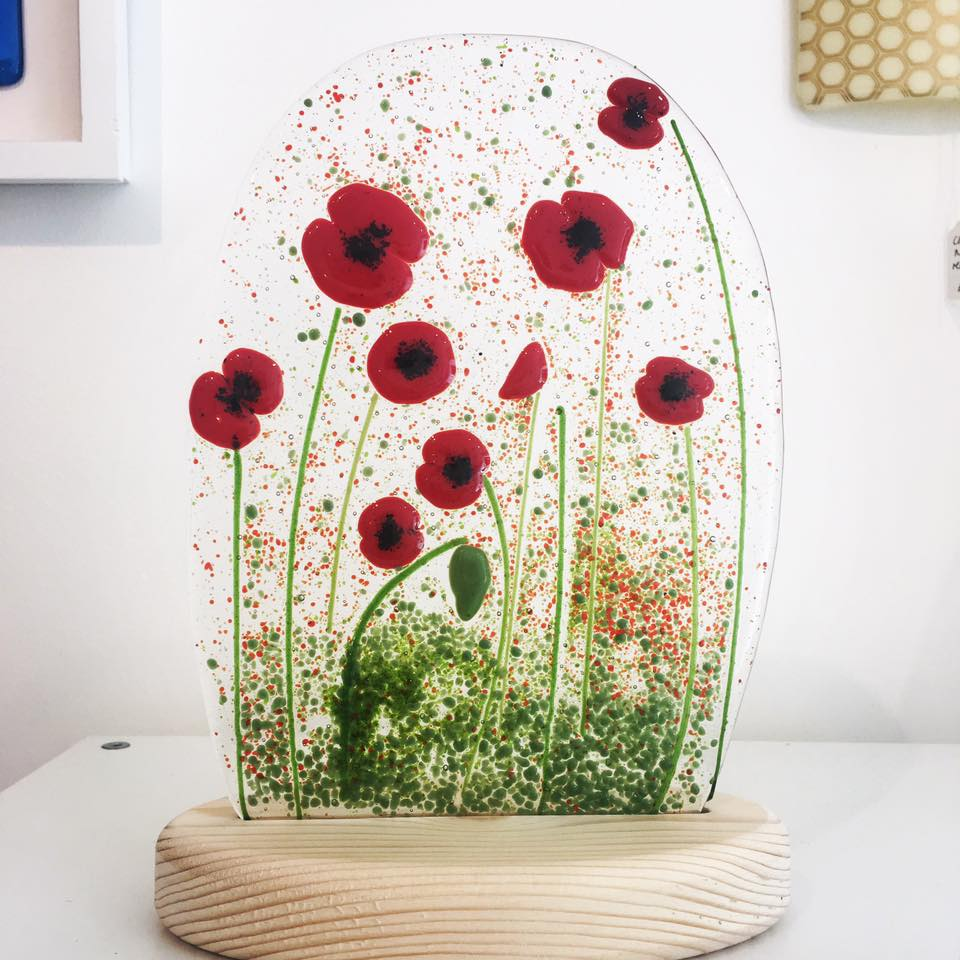 Image of Poppies wooden base