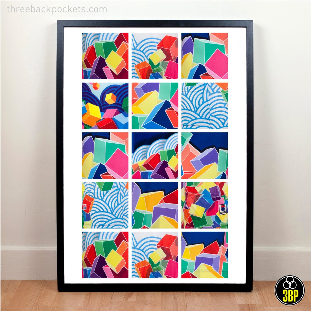 Image of Large Mapei cycling jersey details poster print